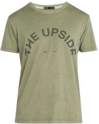 The Upside Big Logo Crew Neck Cotton T Shirt - Mens - Dark Green