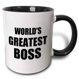 Boss Black 3dRose Worlds Greatest text. great design for the best boss ever - Two Tone Black Mug, 11-ounce
