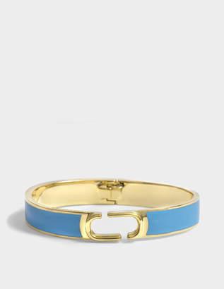 Marc Jacobs Double J Enamel Hinge Cuff Bracelet in Aqua Enamel