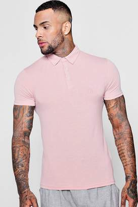 boohoo Muscle Fit Polo With Embroidery
