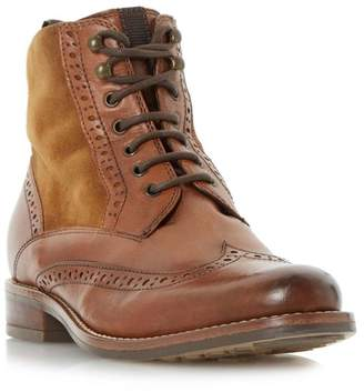 Dune Tan 'Philomena' Brogue Detail Lace Up Ankle Boot