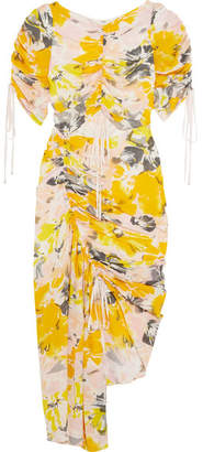 Alice McCall Soiree Cutout Floral-print Silk-crepe Dress - Yellow