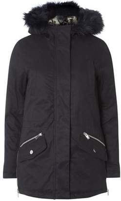 Dorothy Perkins Womens Navy Faux Fur Lined Parka Coat