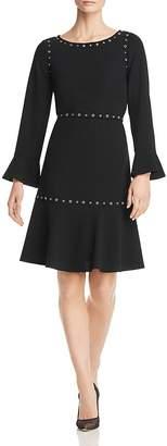 BOSS Henryke Grommet-Trimmed Fit-and-Flare Dress
