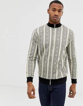 Asos Design DESIGN jersey track jacket with all over stripe design
