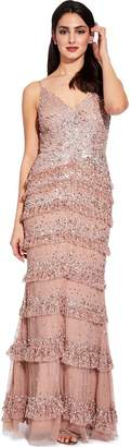 Adrianna Papell Rose Gold Bead Mesh Maxi Dress