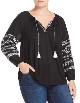 Lucky Brand Plus Geo Print Peasant Top