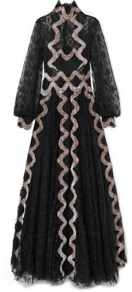 Costarellos - Embroidered Velvet-trimmed Lace Gown - Black