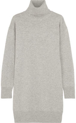 Maison Margiela - Suede-trimmed Wool Turtleneck Sweater - Gray $690 thestylecure.com