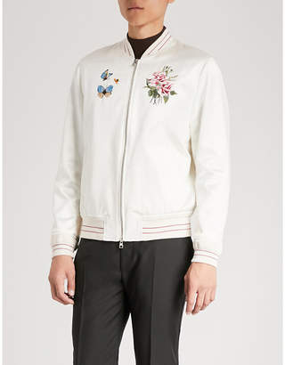 Alexander McQueen Floral-embroidered cotton and silk-blend bomber jacket