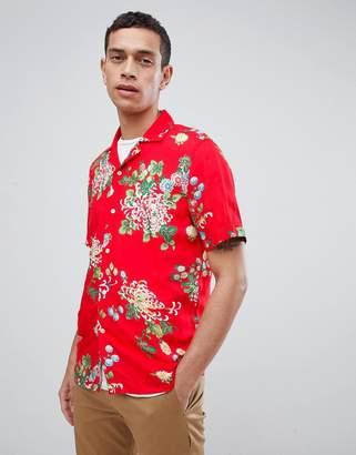 Reiss Slim Short Sleeve Shirt In Red Floral Print