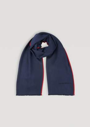 Emporio Armani Wool And Silk Scarf With Contrast Trim