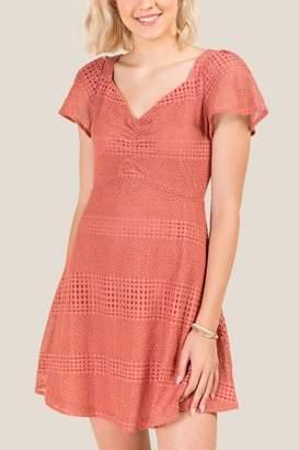 francesca's Maria Ruched Lace A-Line Dress - Rose