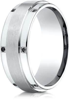 Black Diamond Banvari Benchmark 18K White Gold 8mm Comfort-Fit Pave-set 12-Stone Wedding Band (.12Ct.), Size 7