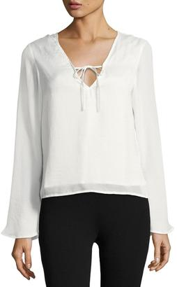 Lucca Couture Front-Tie Long-Sleeve Top, White $49 thestylecure.com