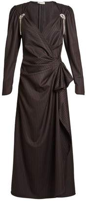 ATTICO Pat Pinstriped Stretch Wool Midi Dress - Womens - Black