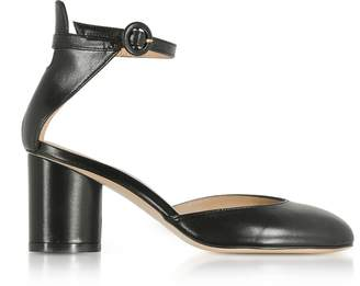 Stuart Weitzman Black Leather Kara Mid-Heel Pump