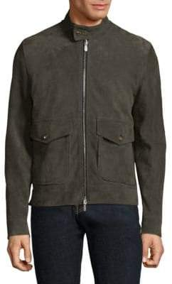 Eleventy Suede Full-Zip Bomber Jacket