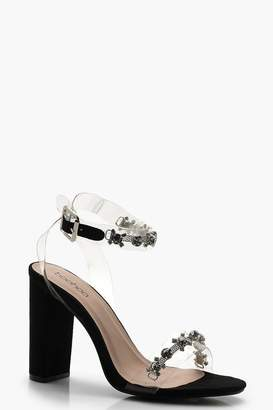 39aeed55173 boohoo Clear and Embellished Strap Block Heels
