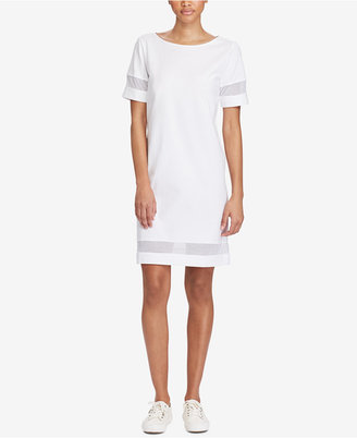 Lauren Ralph Lauren Mesh-Insert Short-Sleeve Dress $99.50 thestylecure.com