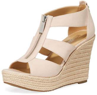 MICHAEL Michael Kors Damita Zip-Front Wedge Sandals, Fuchsia