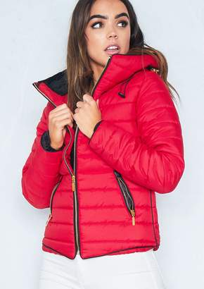 Missy Empire Missyempire Olivia Red Quilted Puffer Coat