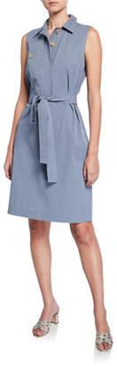 Lafayette 148 New York Padma Sleeveless Italian Cotton Bi-Stretch Shirtdress