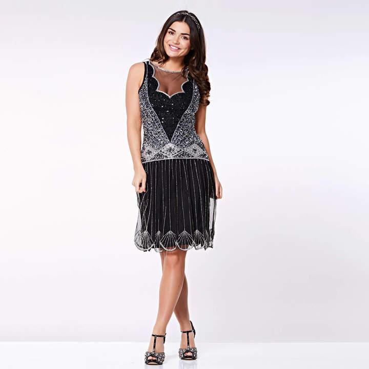 Gatsbylady London Elaina Drop Waist Flapper Gatsby Dress In Black
