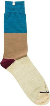 Melange Home 40 Colori Petrol Blue Striped Linen & Organic Cotton Socks