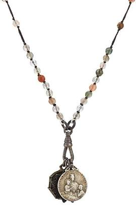 Miracle Icons Men's Vintage-Icon Beaded Necklace - Gray
