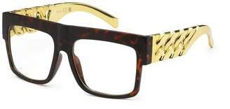 88975dcfcf Moda NERD Gold Metal Chain Vintage Hip Hop Mens Frame Clear Lens Eye Glasses  TORTOISE