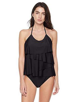Bloom Muse Women's Ruffle Tankini Set Plus Modest Thong Halter Two Piece Swimsuit(M