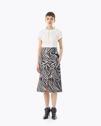 3.1 Phillip Lim Zebra Jacquard Belted Skirt