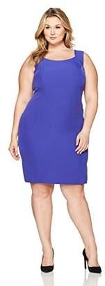 Kasper Women's Plus Size Solid Stretch Crepe Dress
