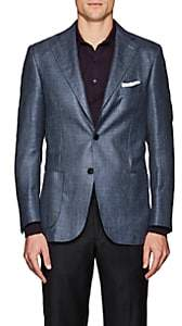 Piattelli MEN'S HERRINGBONE-WEAVE SILK-BLEND TWO-BUTTON SPORTCOAT-GRAY SIZE 40 R