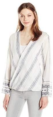 True Grit Dylan by Women's Striped V-Neck Long Sleeve French Market Wrap Blouse