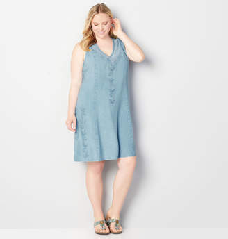 Avenue Lightweight Embroidered A-Line Dress
