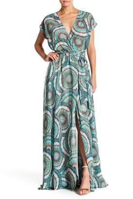 Meghan LA Patterned Short Sleeve Maxi Dress
