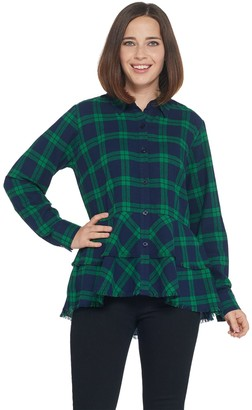 Joan Rivers Classics Collection Joan Rivers Plaid Peplum Shirt with Fringe Hem