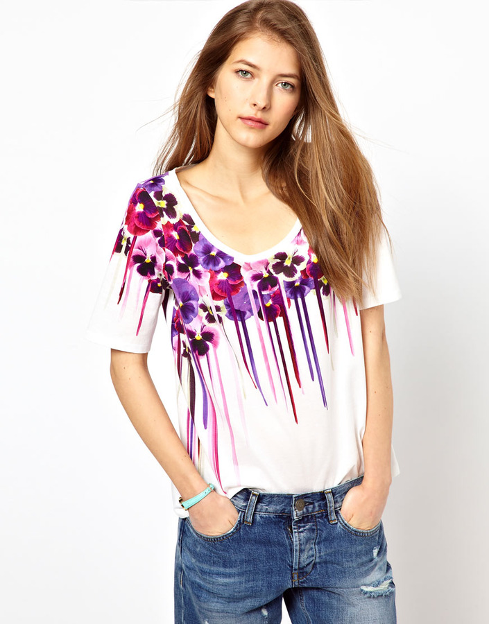 Paul Smith Paul by Oversized Tee in Dripping Floral Print
