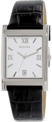 Bulova Men's Black Leather Strap Watch