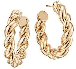 "Lana Women's Royale 14K Yellow Gold Braided Hoop Earrings/0.78"""