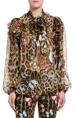 8d28b2f6796ee6 Dolce & Gabbana Leopard Butterfly-Print Chiffon Tie-Neck Blouse
