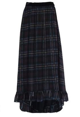 Philosophy di Lorenzo Serafini Blue Check Print Long Length Skirt.