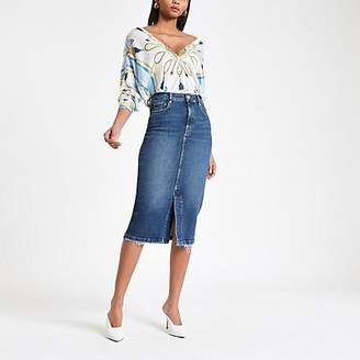 River Island Mid blue midi denim skirt