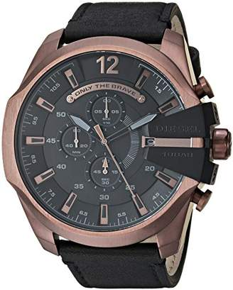 Diesel Men's Mega Chief Quartz Stainless Steel and Leather Chronograph Watch