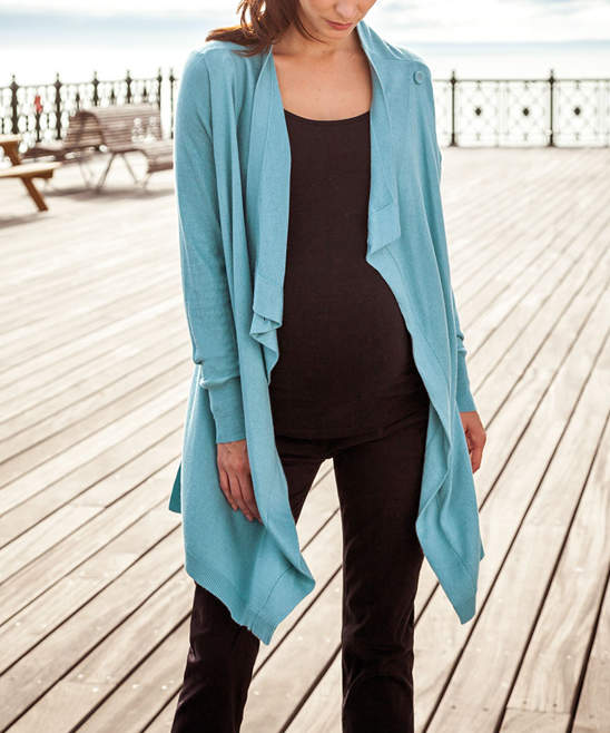 Blue Four-Way Maternity/Nursing Wrap Cardigan