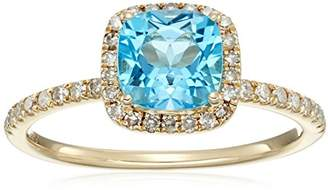 10k Yellow Gold Swiss Blue Topaz and Diamond Cushion Halo Engagement Ring (1/4cttw