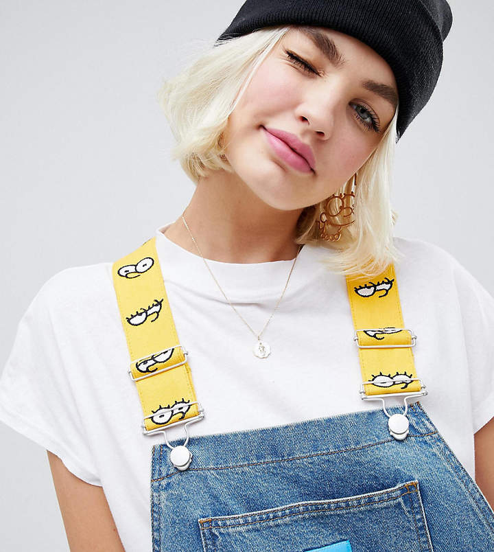 The Simpsons x ASOS DESIGN denim overalls with taping