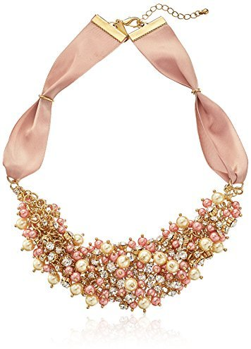 Nina 'Melanie' Blush Colored Glass Pearl and Crystal Necklace